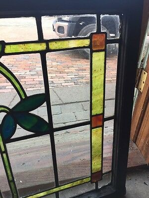 Sg 805 Antique Arts And Crafts Laurel Stainglass Window 4