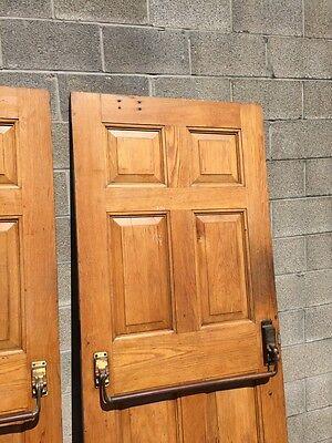 Cm 22 One Pair Antique Very Heavy Raise Panel Oak Entrance Doors 11
