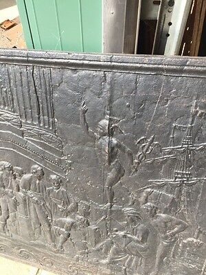 Antique Cast-Iron Figural Fire Back French 32 Inch Wide By 32 Inch High 2