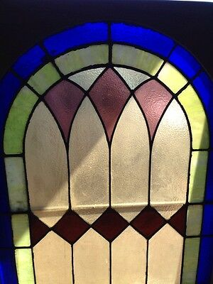 Sg 133 Antique Arch Top Stainglass Window Very Good 33.25 X 63.25 High 2