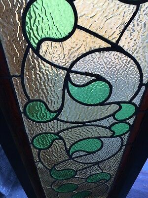 Sg 382 Antique Stainglass Window Green Waves 3
