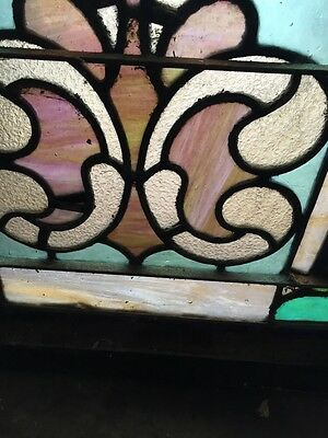 """Sg 403 Antique Stainglass Landing Window 27 In 0.125"""" X 44.5"""" Tall 6"""
