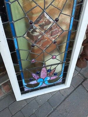 Sg 282 Jeweled Antique Eastlake Transom Stainglass Window 10