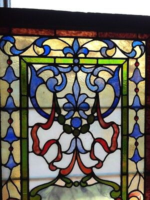 Sg 264 Antique Stainglass And Jeweled Landing Window