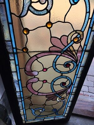 St 595 Gorgeous Antique Victorian Stainglass Window Many Jewels 3