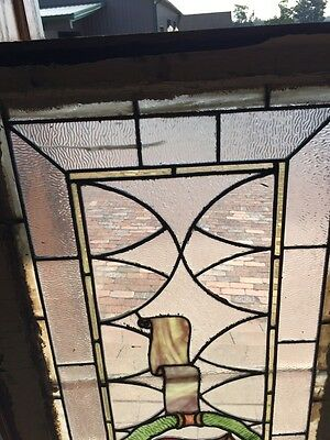Sg 262 Antique Stained Glass Window Center Crest And Ribbon Design 2
