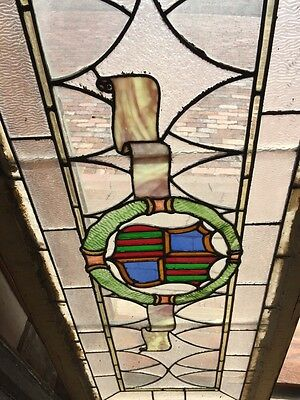 Sg 262 Antique Stained Glass Window Center Crest And Ribbon Design 3
