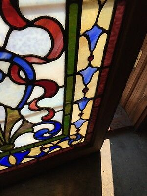 Sg 264 Antique Stainglass And Jeweled Landing Window 6