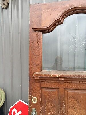"Teen 53 Antique Victorian Entrance Door Double Glass Wheel Cut Center 40 3/4"" 3"