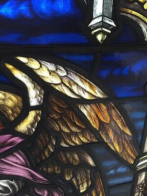 Sj 101 Antique Painted In Fired Heavenly Angel Window With Chalice 5