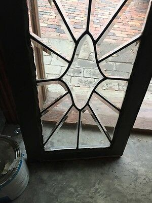 Sg 842 Antique All Beveled Glass Transom 16 X 31 4