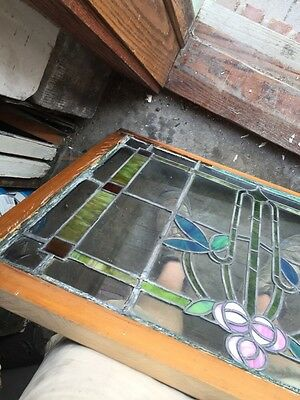 Sg 805 Antique Arts And Crafts Laurel Stainglass Window