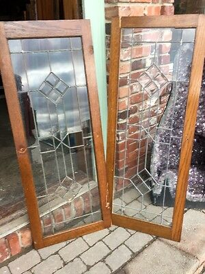 Sg 1043 Two Available Price Separate Antique Leaded Glass Beveled Transom Window
