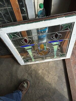 Sg 561 Antique Olympic Torches Stainglass Window Beautiful Colors 5