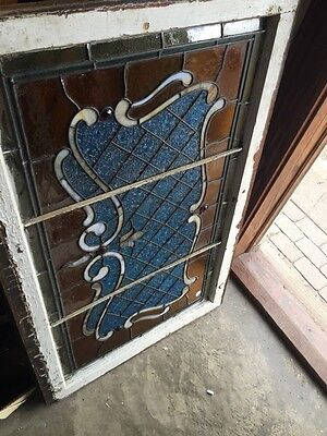 Sg 694 Antique Stained Glass Transom With Jewels 11