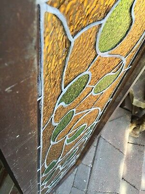 Sg 382 Antique Stainglass Window Green Waves 8