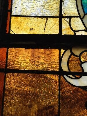 """Ca 10 Antique Stained Glass Landing Window With Jules 36"""" X 8' 7"""