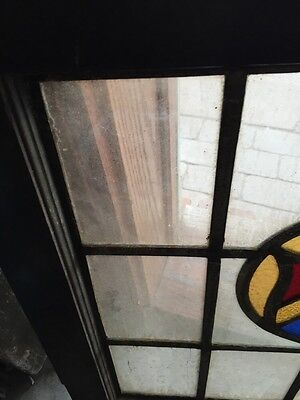 """Sg 670 Antique Stained Glass Shield Window 24.5 X 25"""" High 3"""