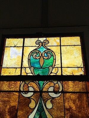 """Ca 10 Antique Stained Glass Landing Window With Jules 36"""" X 8' 2"""