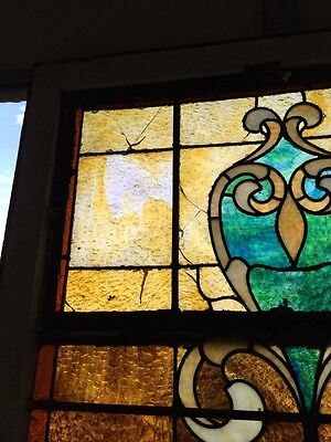 """Ca 10 Antique Stained Glass Landing Window With Jules 36"""" X 8' 6"""
