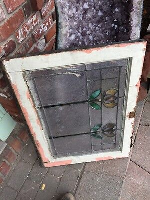 Sg 1178 Antique Floral Arts Crafts Stainglass Window 23 X 30.25