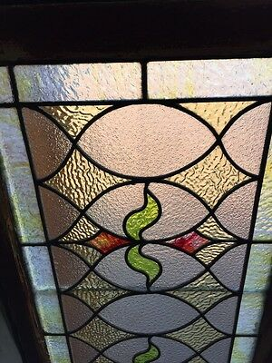 St 383 Antique Triple Sprout Stained Glass Transom Window 4