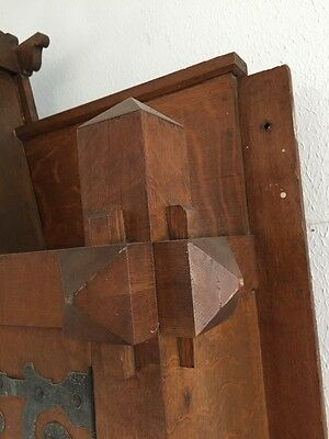 Antique Quartersawn Oak Fancy Mission Mantle With Clock 8