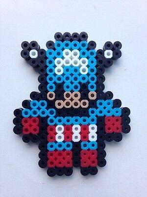 Marvel Avengers Inspired Perler Bead Captain America Pixel Art Ornament 3 00 Picclick