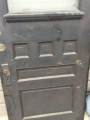 An 68 Antique Oak Beveled Glass Entrance Door Raised Panel 35.5 X 82