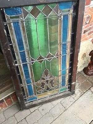 """Sg 403 Antique Stainglass Landing Window 27 In 0.125"""" X 44.5"""" Tall 10"""