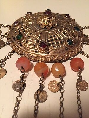 Antique Greek Gilded Belt W. Pendant Ahati Stones - Over 100 Years Old! 3