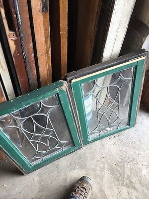 Sg 1294 Matched Pair Antique Beveled And Leaded Window 16.25 X 23.5