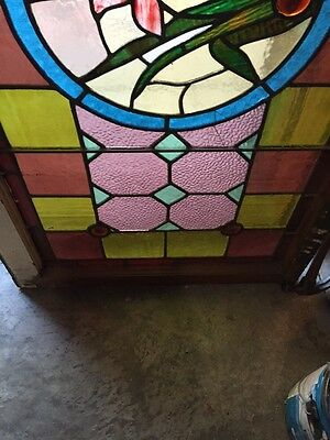 Sg 290 Antique Stained Glass Transom Window W/ 1 Flower 4