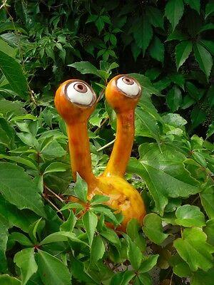Unikat Gartenspion Stielaugen aus Keramik orange groß Gartendeko frostsicher