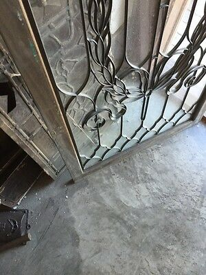 Sg 794 Antique Torch And Wreath Leaded Glass Window