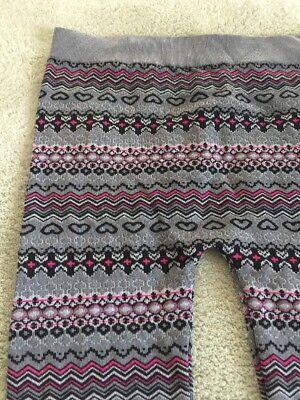 One Step Up Girls Gray Pink Black Hearts Geometric Knit Leggings XL 18 2
