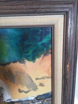 Original Painting Watercolor Man Building Stone Wall Primitive Framed Vintage 4
