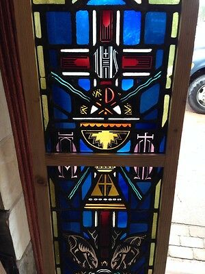 Sg 215 Antique Religious Window With Chalice And Stags 4