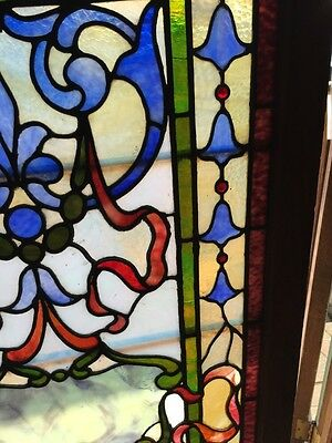Sg 264 Antique Stainglass And Jeweled Landing Window 8
