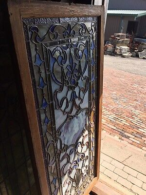 Sg 264 Antique Stainglass And Jeweled Landing Window 9