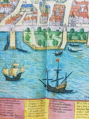 Old Historic Antique Map Visby, Sweden: 1598 by Braun & Hogenberg REPRINT 1500's 3