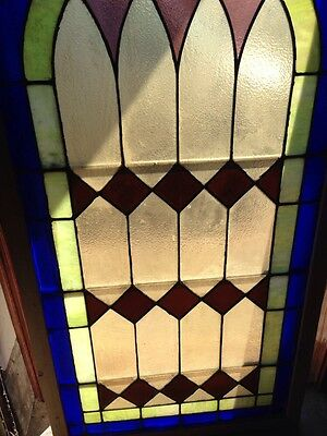 Sg 133 Antique Arch Top Stainglass Window Very Good 33.25 X 63.25 High 3