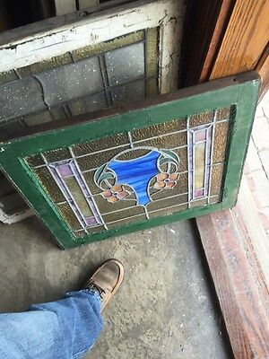 Sg 709 Antique Stainglass Window To Flowers 6