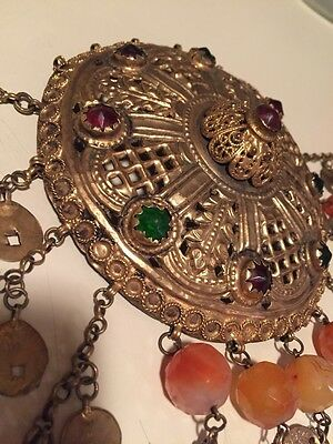 Antique Greek Gilded Belt W. Pendant Ahati Stones - Over 100 Years Old! 5