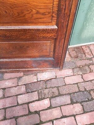 R D 23 One Antique Oak Raise Panel Pocket Door 8