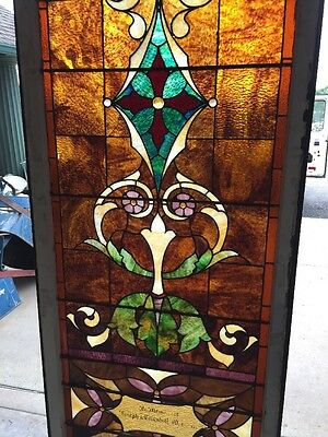 "Ca 9 Antique Stained Glass Landing Window 36"" X 8' 3"