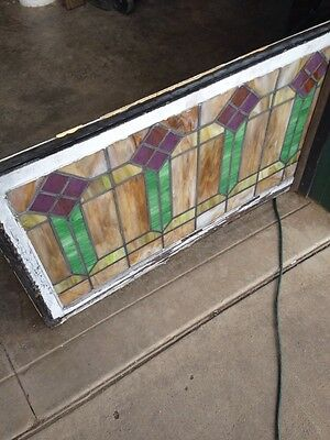 """Sg 56 Arts And Crafts Men Style Antique Stained Glass Window 421/2"""" Wx 25"""" H 5"""