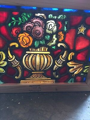 Sg 1171 Antique Painted And Fired Flowerpot Window 17 0.125 X 23.75