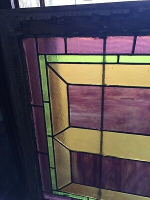 "Sg 283 Antique Stained Glass Geometric Window 21"" X 29"" 2"