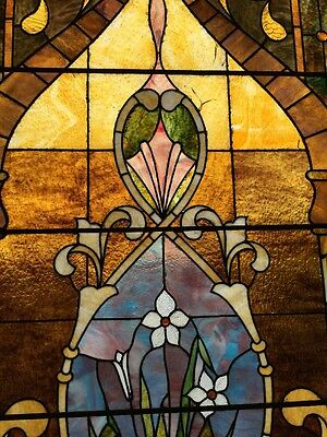 Ca14 Antique 1890S Stainglass Landing Window 3